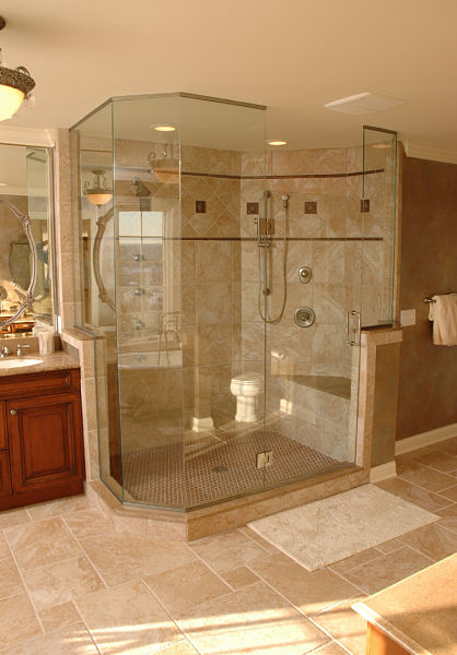 Large Walk in Shower with Seat Bathrooms  Page 2 Neal s Home Remodeling Design Blog Cincinnati With In Showers Courtyard Garden And Pool Designs