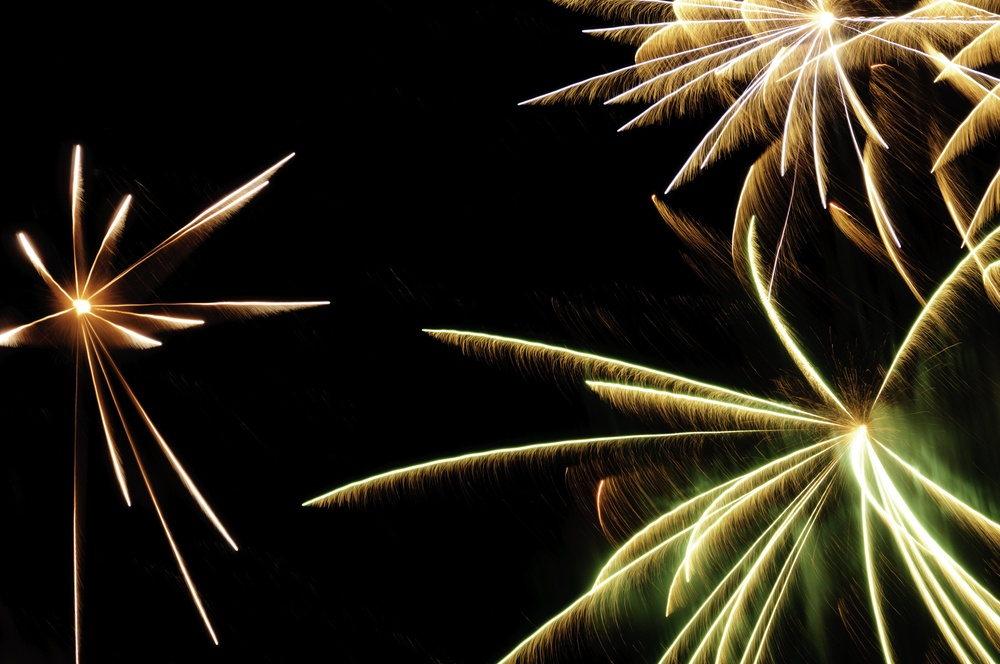 Bursts of fireworks with white-hot cores and reddish-orange, greenish, and white streaks with feathery motion blur.jpeg