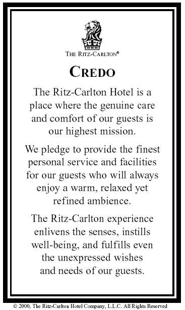 ritz carlton objectives goals Introduction to the company the ritz-carlton hotel company is one of the premier hotel management companies in the world today their goal of providing world-class service to its guests is rooted in tradition.