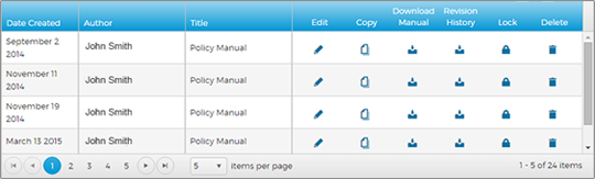 screen cap of list of policy manuals and options to edit or download