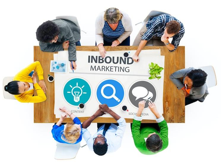 Team rundt et bord som jobber med inbound marketing