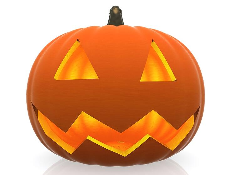 3D Halloween pumpkin isolated over a white background