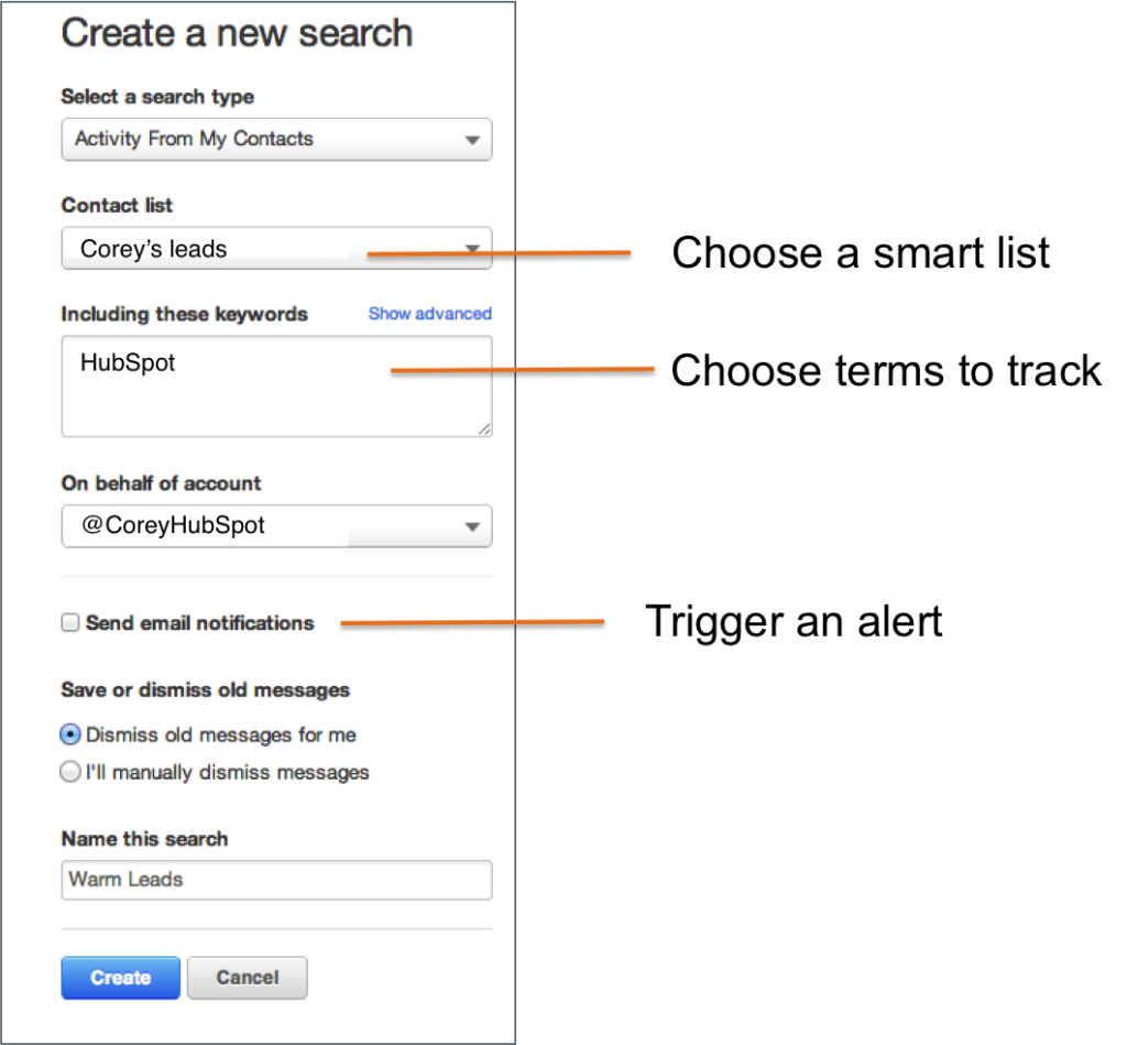 Search and Alert from Social Inbox by Hubspot