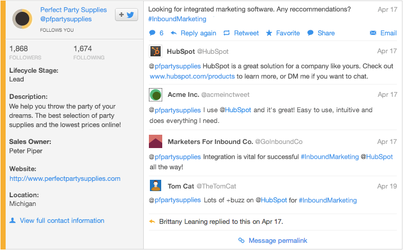 Converse with Leads in the Social Inbox by Hubspot