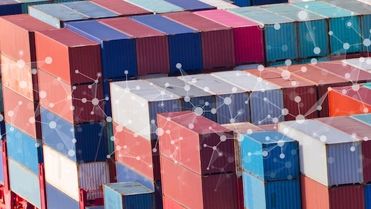 The image depicts colorful cargo container  with connecting dots.