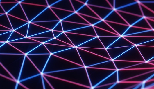 The image portrays neon blue and pink lines with white connecting dots.