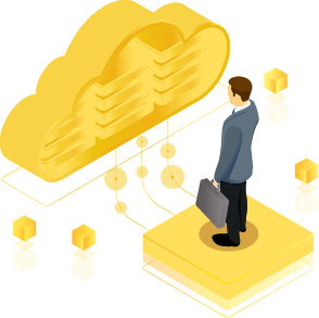 illustration of a businessman standing on a hard drive in front of a golden cloud
