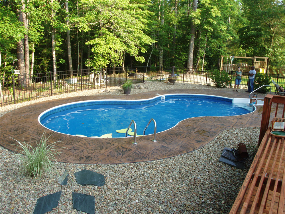 Figure 8 vinyl liner with stamped concrete for Vinyl inground pool