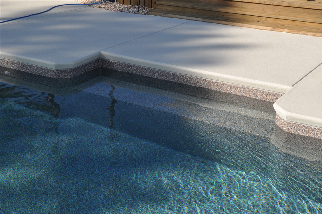 In pool Bench Seat Cantilever Concrete Decking With Cool