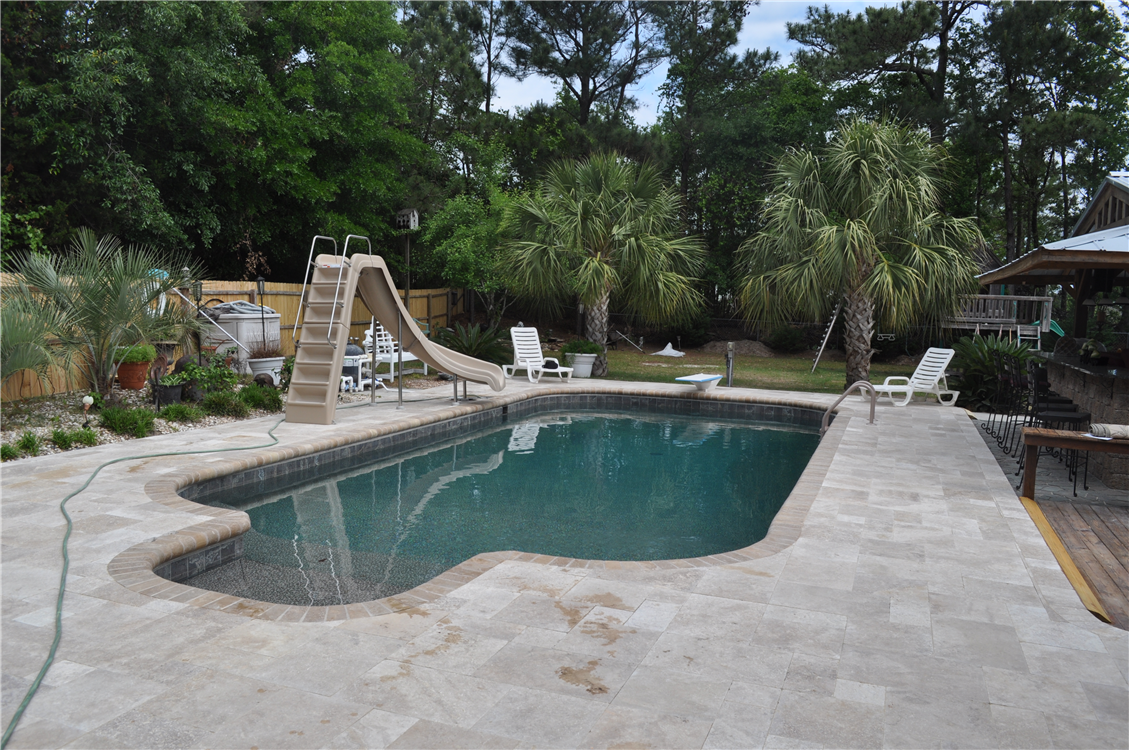 Vinyl Liner Renovation With Travertine Pavers Waterline Tile Wild Ride Slide