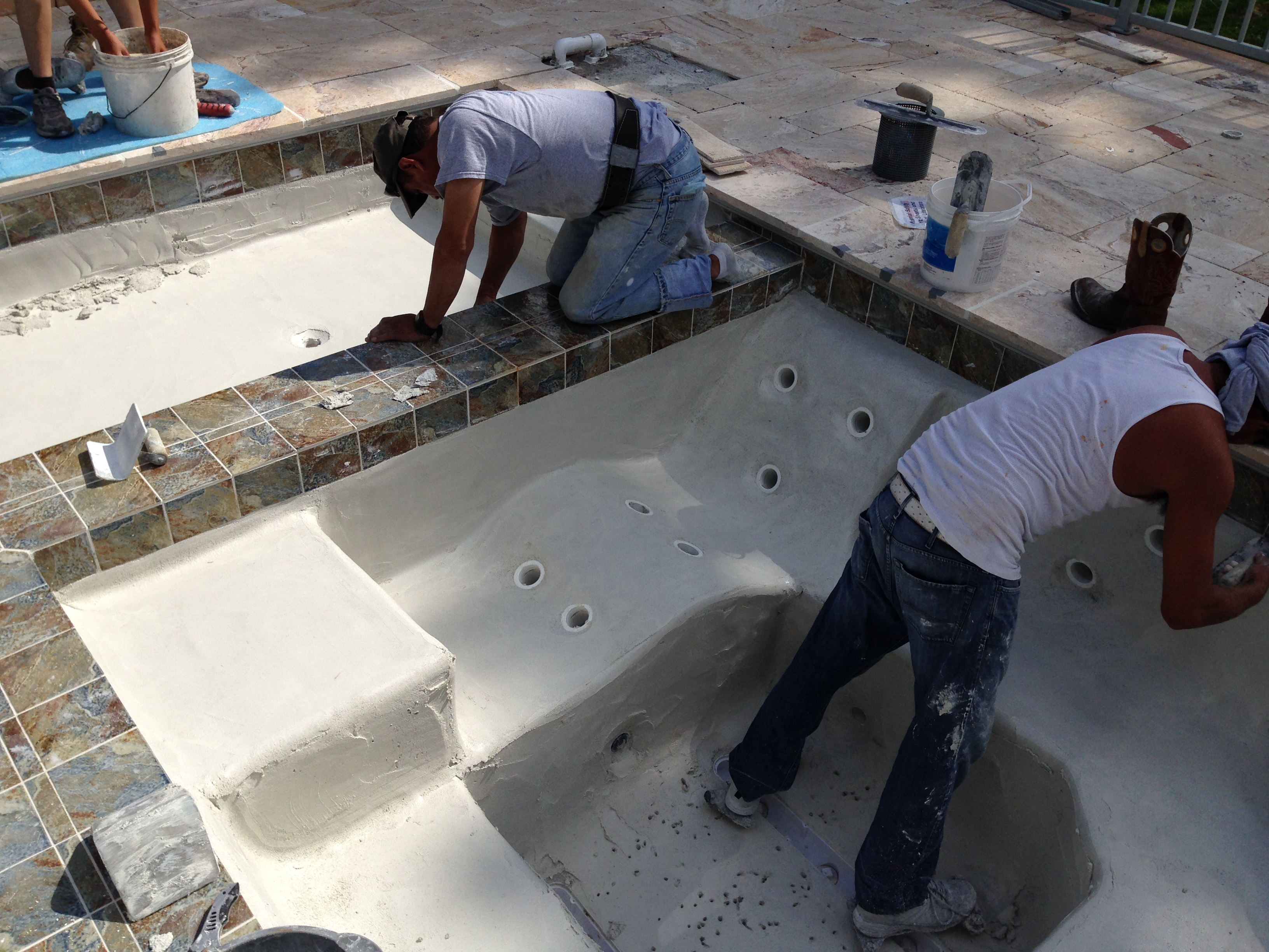 Tile Is Installed And Time To Plaster The Pool Hot Tub