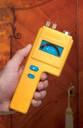 the J-Lite's simplistic LED display makes it incredibly easy to check the moisture content of wood.