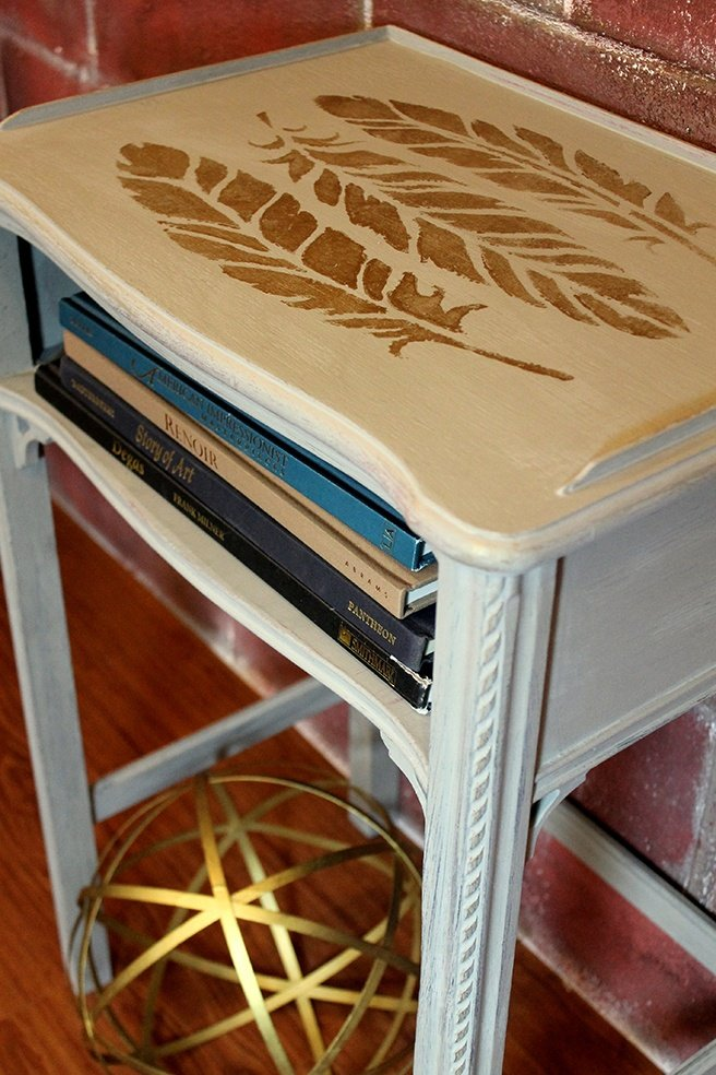 Updated-End-Table-with-Feather-Stencil.jpg