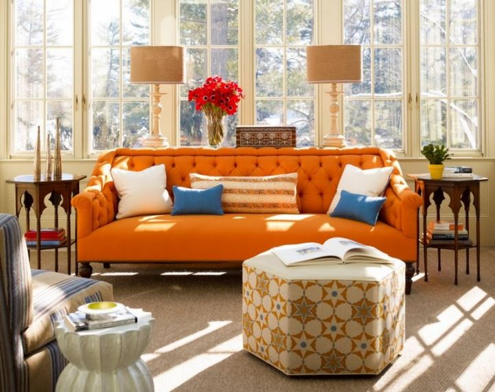 orange blue living room our staff picks for fall 16308