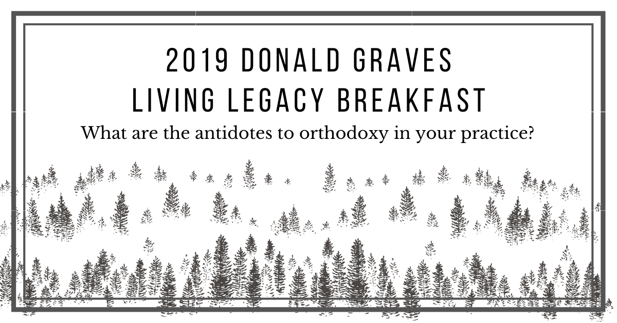 black and white sketched trees at the bottom of a white rectangle. At the top in black type: 2019 Donald Graves Living Legacy Breakfast