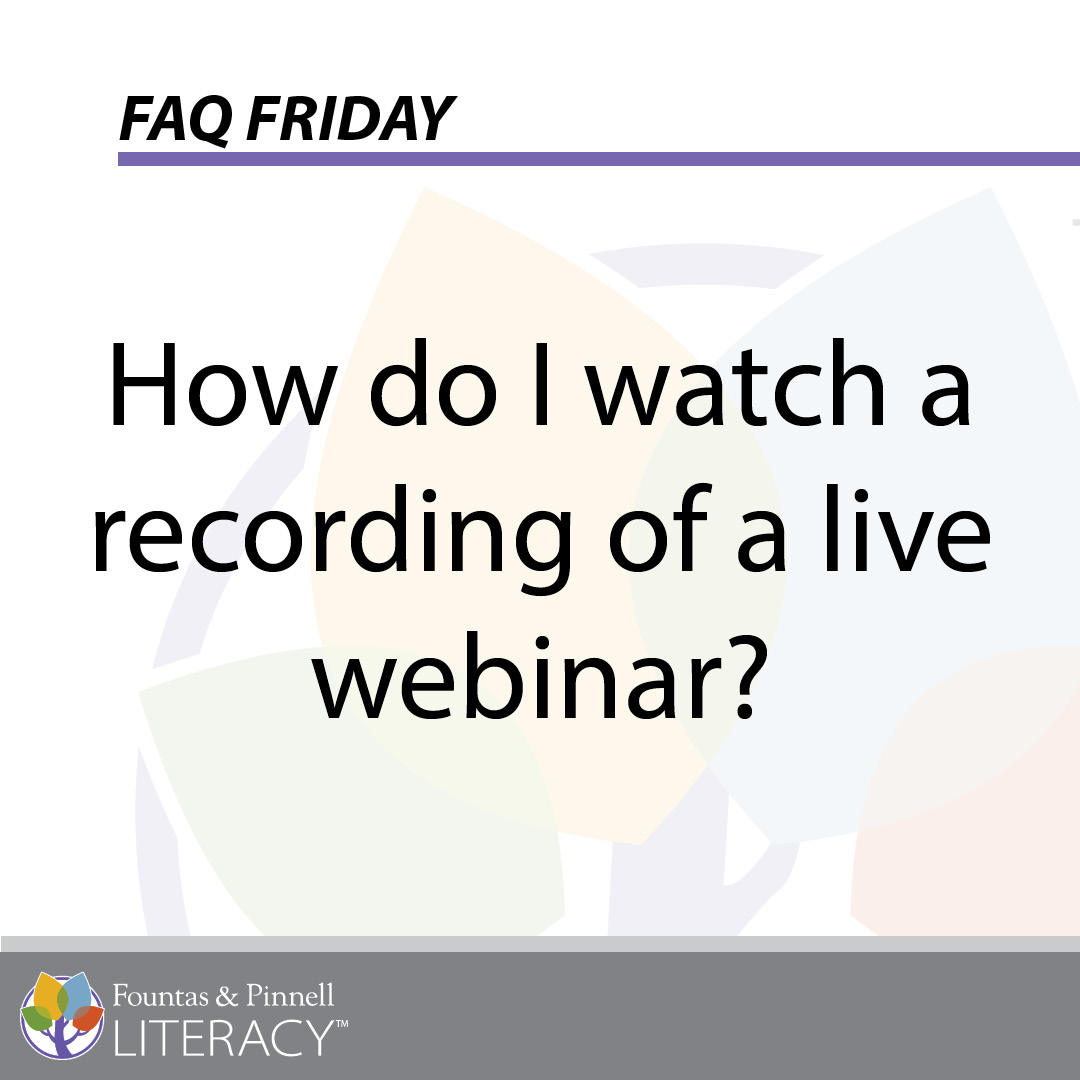 FAQ Friday_How do I watch a webinar
