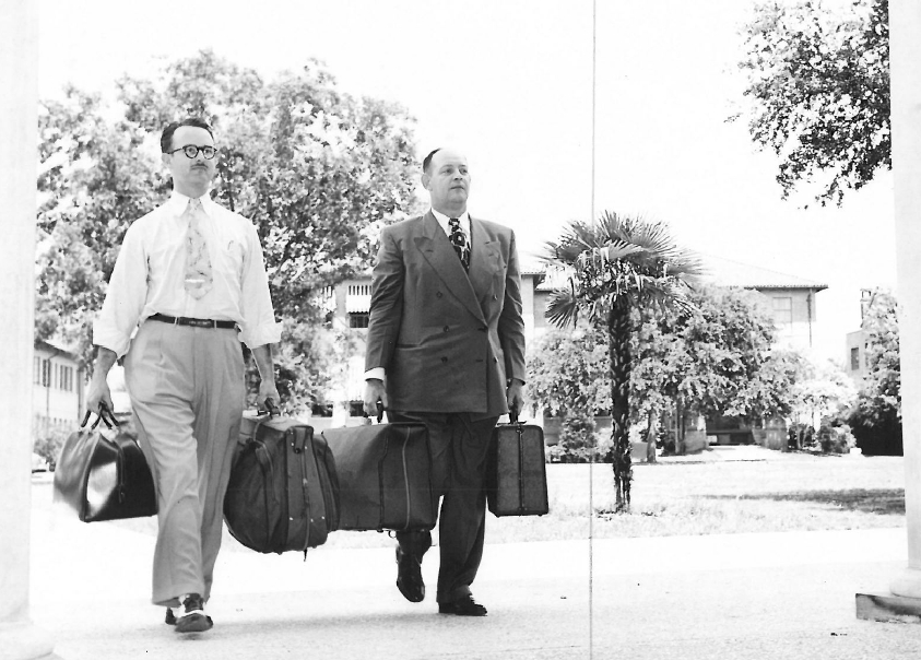 Bankers, dressed like bankers, arriving on campus for the first Session in 1950