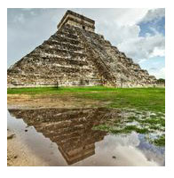 Kukulkan pyramid of Chichen Itza in Mexico - stock photo