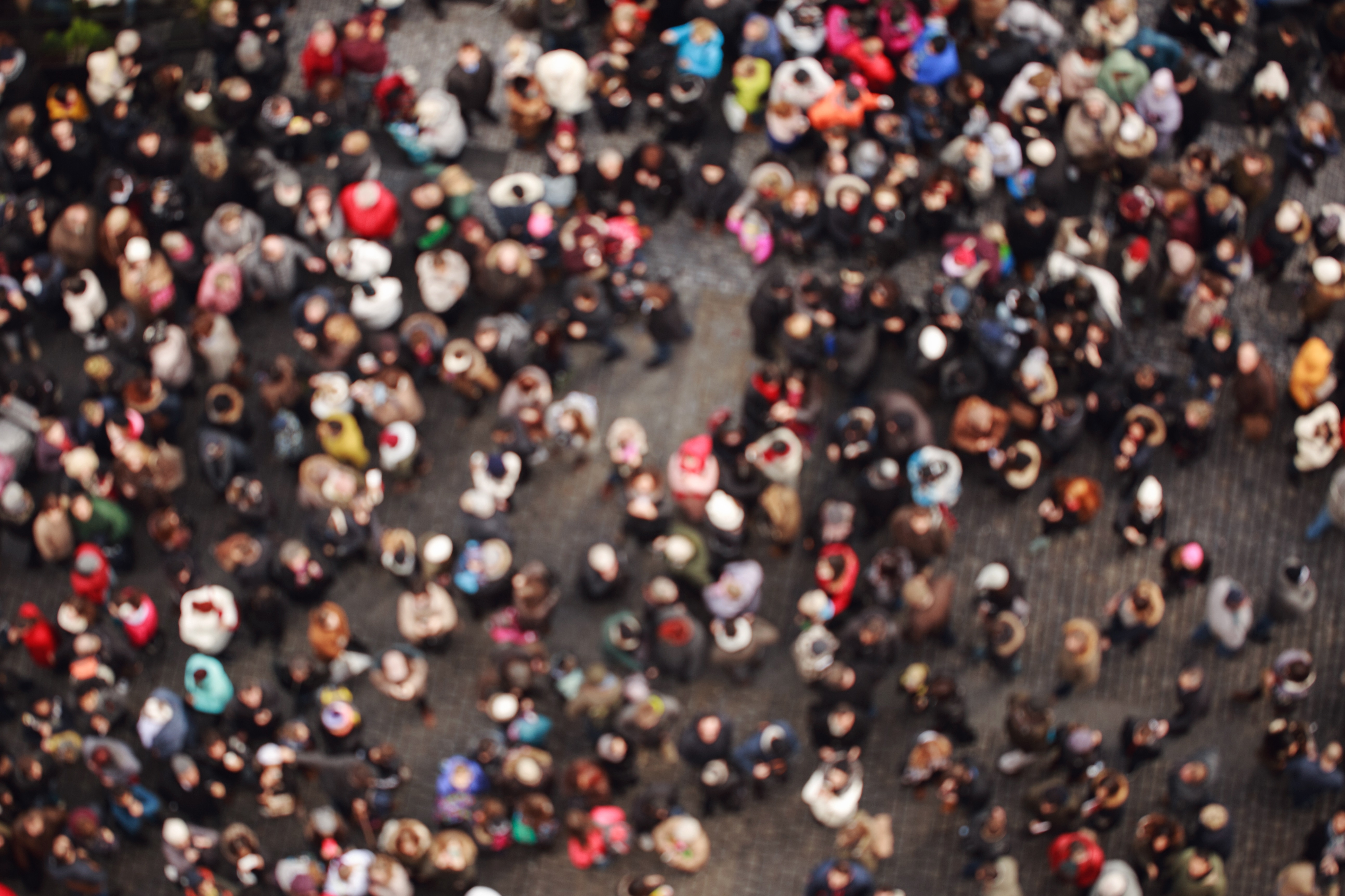 Crowds of people from a birdseye view to represent content mapping
