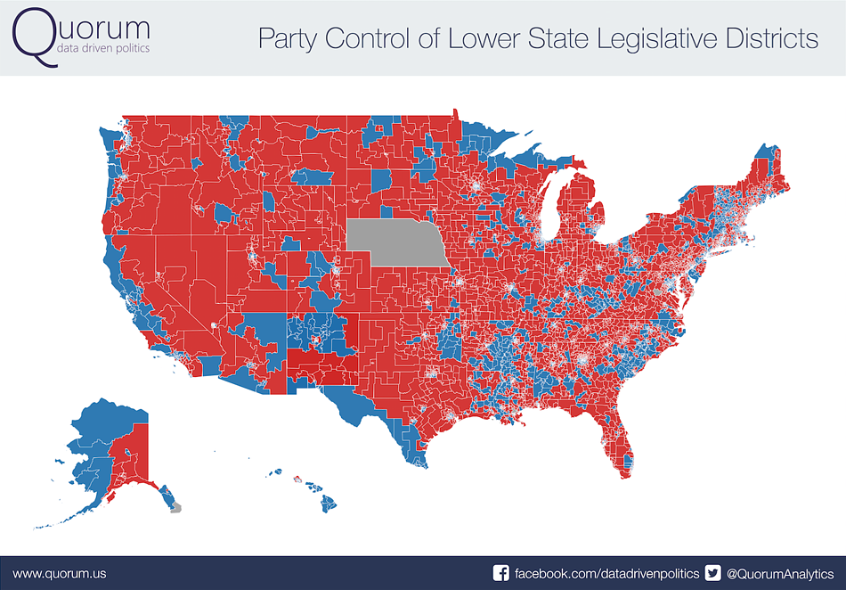 Party Control of Lower State Legislative Districts