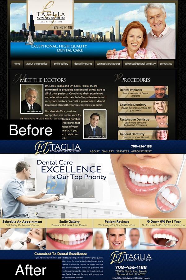 website re-design before and after screenshot
