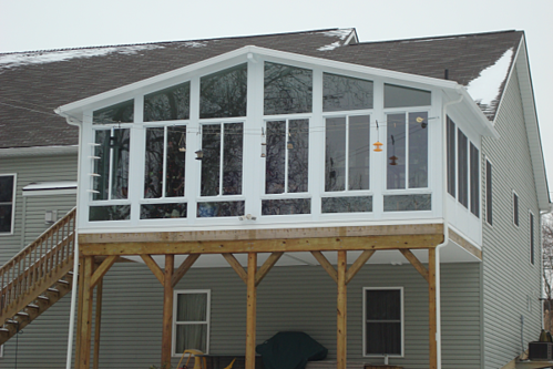 Deck enclosure for the birds Two story sunroom