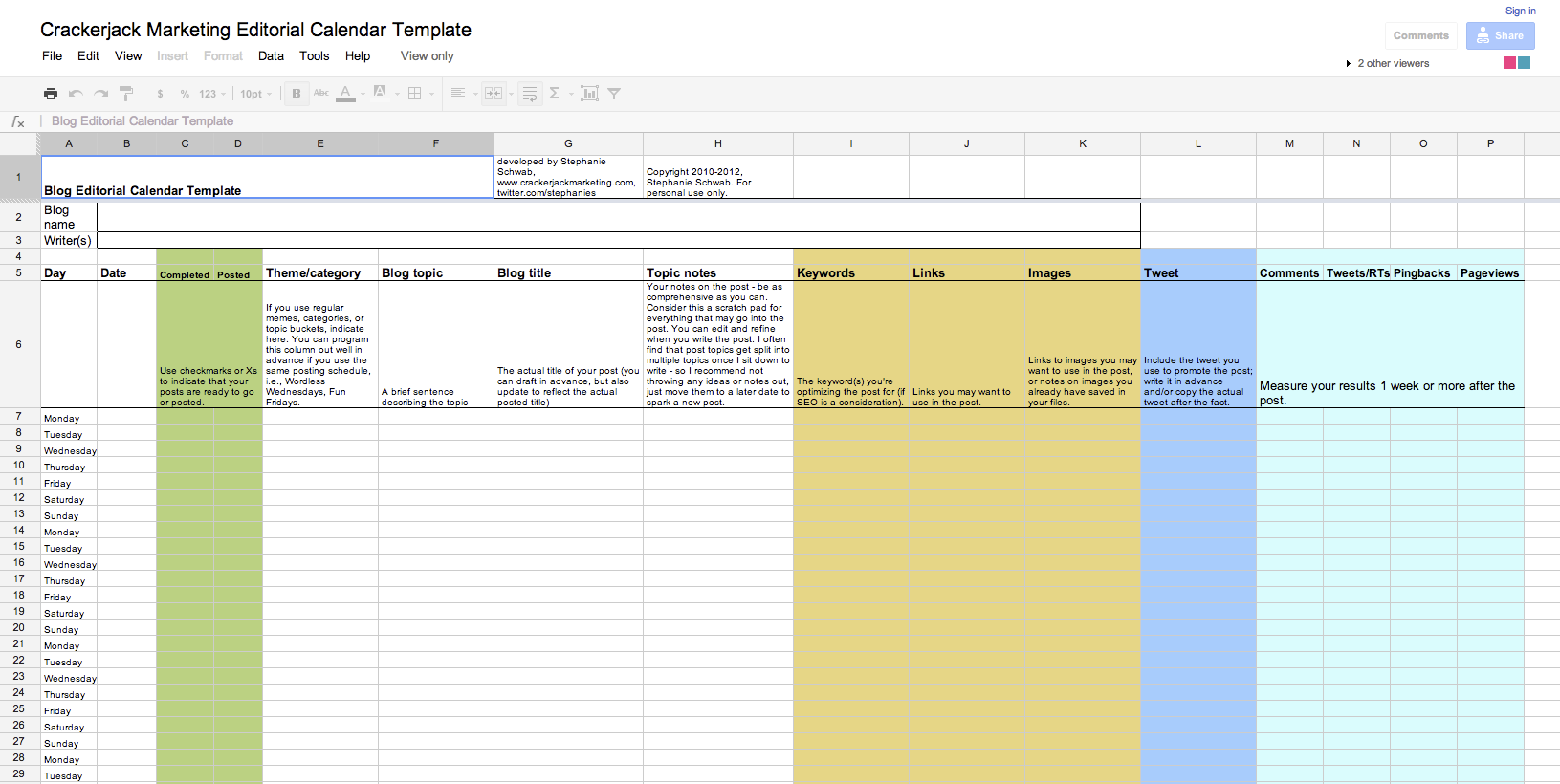 Editorial Calendar Continued  Blog Calendar Template lQrNtxwQ