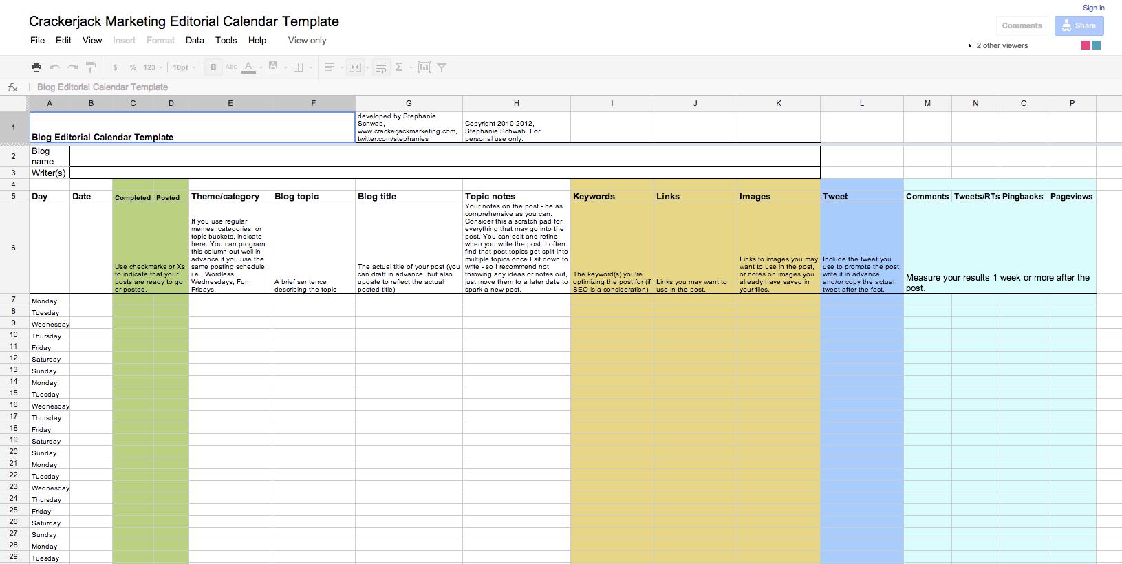 Editorial Calendar Continued: Blog Calendar Template
