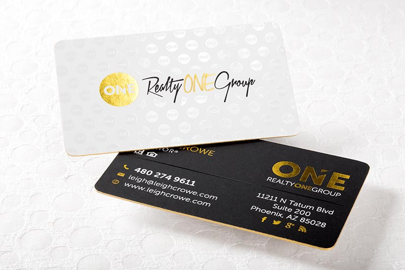 realtor business card with gold foil