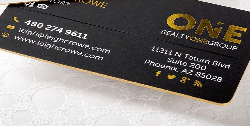 gold foil real estate business card