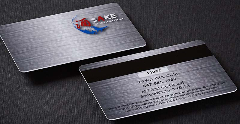 restaurant gift card with magnetic strip