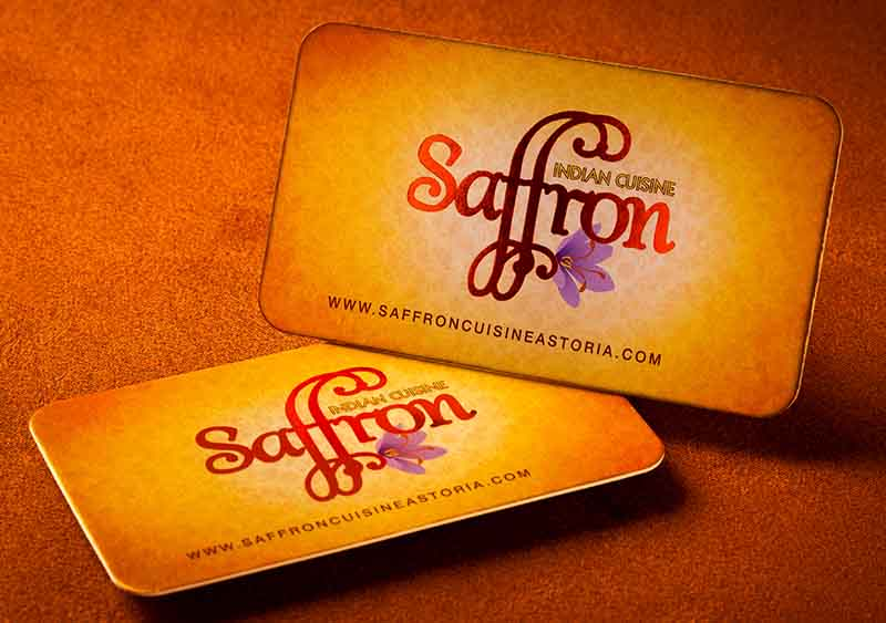 foil indian restaurant business card with rounded edges