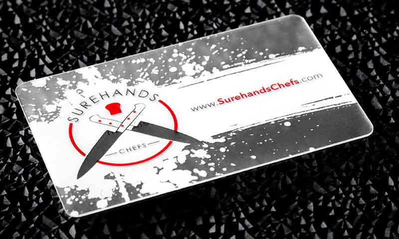frosted restaurant business card