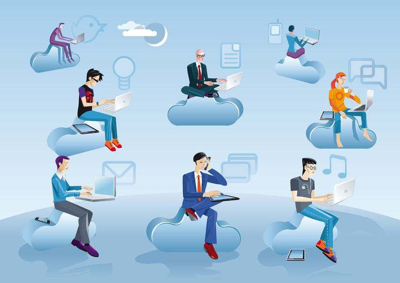 People using cloud services while sitting on clouds.