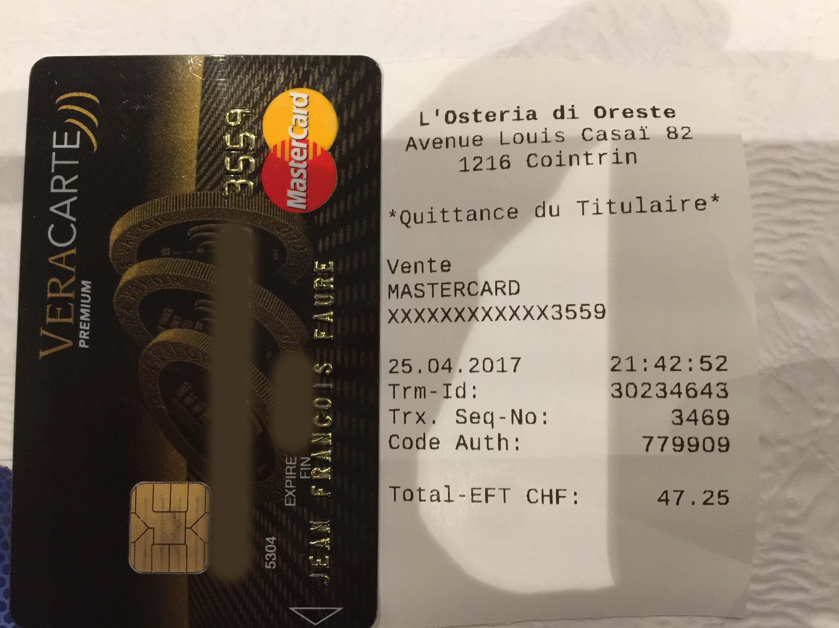 Paiement avec la VeraCarte Mastercard