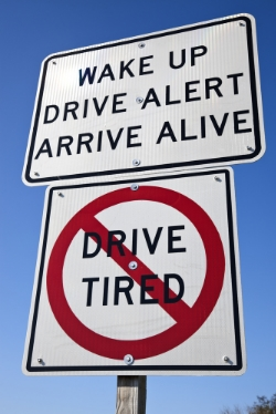 Don't Drive Tired street sign.