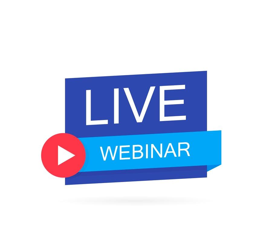 illustration saying two words 'live' and 'webinar' to indicate a financial advisor webinar in progress www.paladindigitalmarketing.com