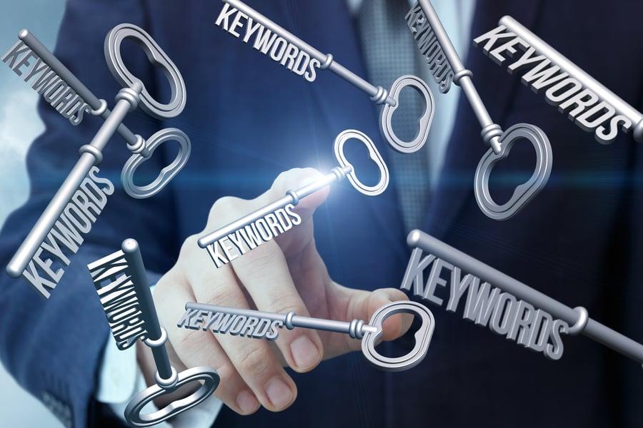 Keys floating around a pointing finger representing keywords for SEO www.paladindigitalmarketing.com