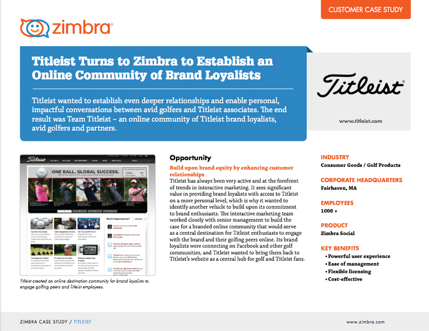 Titleist Turns to Zimbra to Establish an Online Community of Brand Loyalists