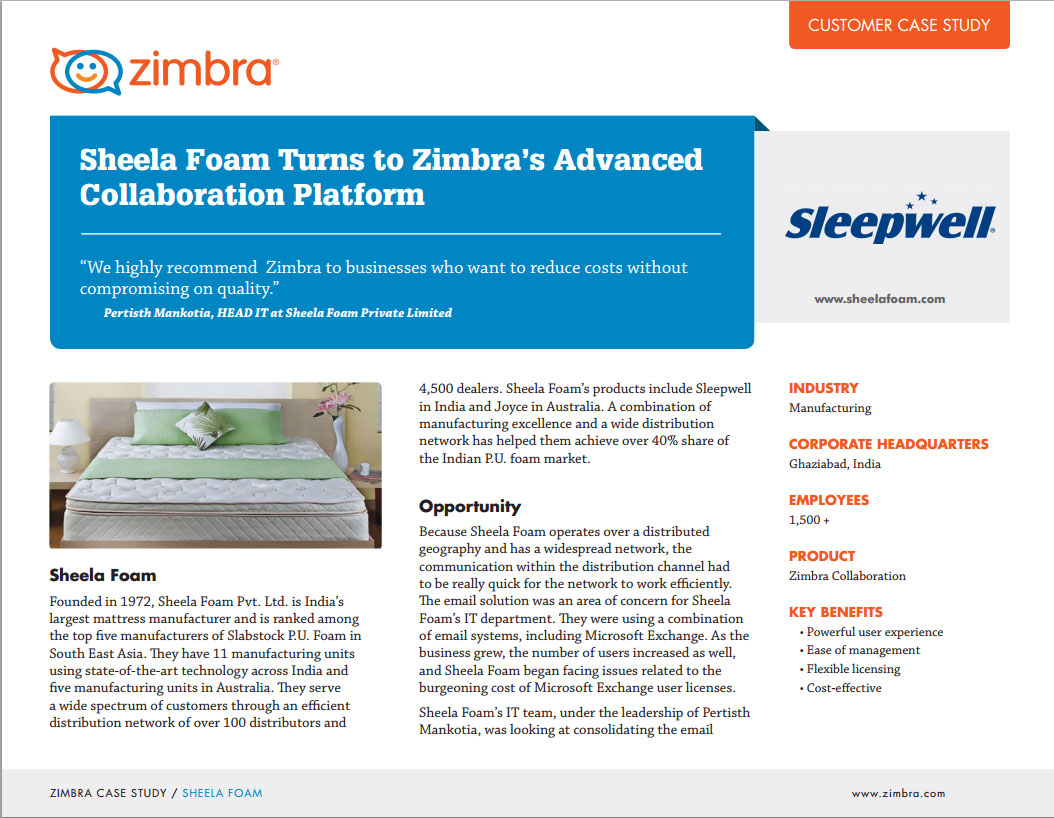 Sheela Foam Turns to Zimbra's Advanced Collaboration Platform