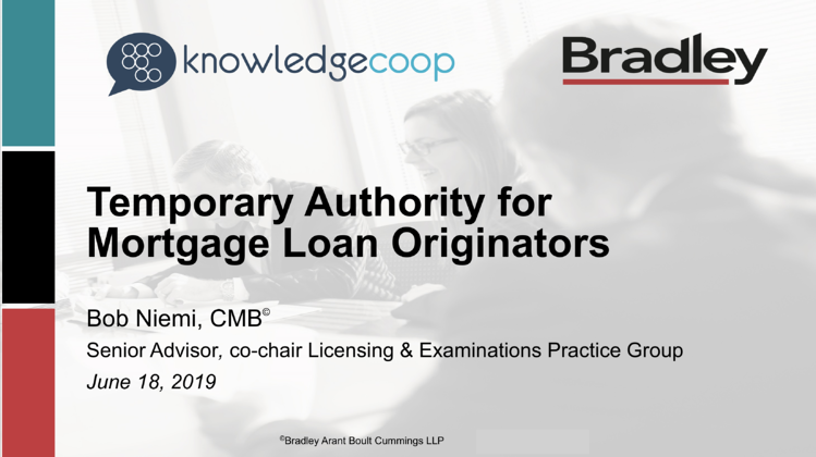Temporary Authority Webinar with Bob Niemi, CMB