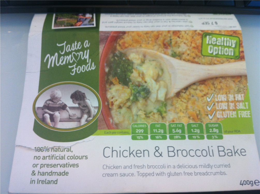 Taste a Memory Foods (Spar) Chicken & Broccoli Bake. Chicken and fresh broccoli in a delicious mildly curried cream sauce. Topped with GF breadcrumbs. Calls 299, Fat 11.2 low in fat low in salt