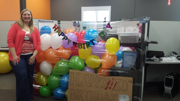 office birthday decoration. A Plastic Printer Birthday Celebration Office Decoration