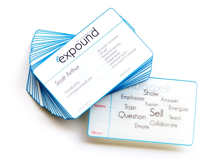 Expound plastic business card example