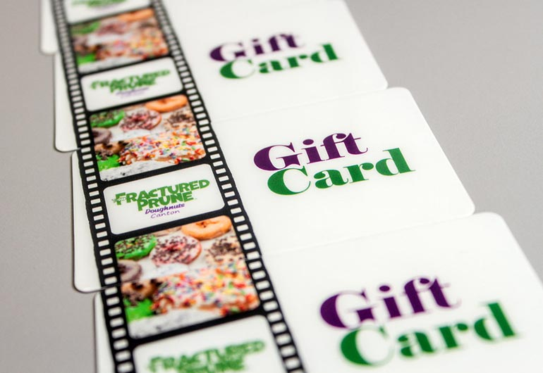 Example of custom gift cards for Fractured Prune