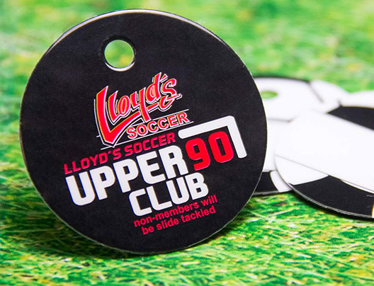 Example of Membership Key Tag Card for Lloyd's Soccer