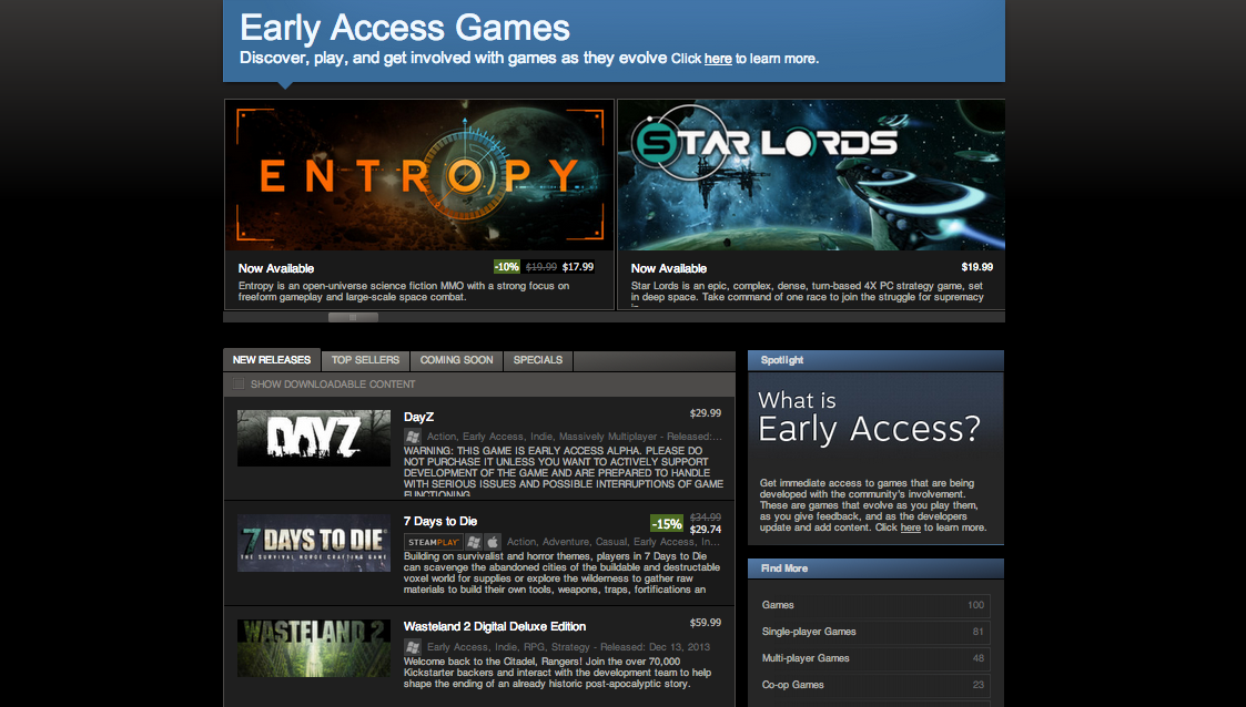 Steam Store Early Access