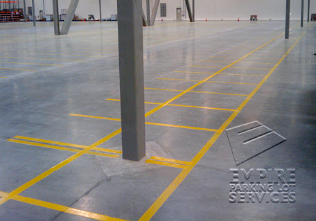 Empire offers Lean and 5s markings to help comply with osha requirements and reduce injuries in the warehouse work area.