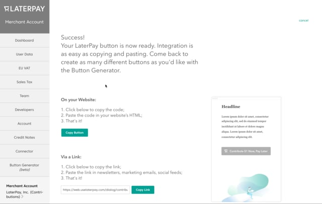 Walkthrough: How to create a donation and contribution button within minutes.