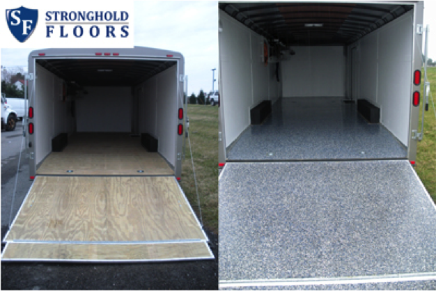 Epoxy coatings outside the box for 6x12 wood floor trailer